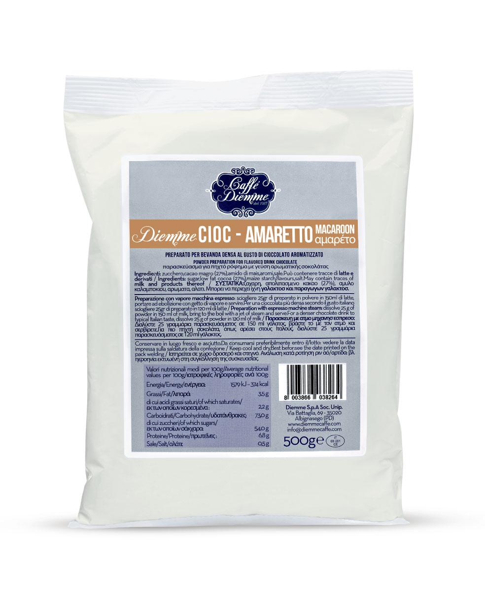 Diemme Caffe Amaretto Chocolate горячий шоколад, 500 г8003866038219Гармоничное сочетание сладкого шоколада с нотками пряного ароматного миндаля.