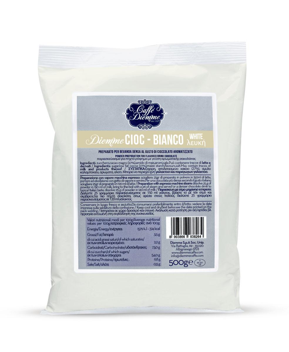 Diemme Caffe White Chocolate горячий шоколад, 500 г8003866038226Безупречный вкус белого классического шоколада: бархатистый, сладкий, с тонкими нотками ванили.