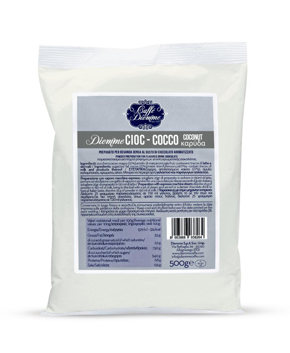 Diemme Caffe Coconut Chocolate горячий шоколад, 500 г8003866038233Свежий вкус кокосового ореха в сочетании с ярким вкусом шоколада образуют идеальный союз с экзотическими нотками.