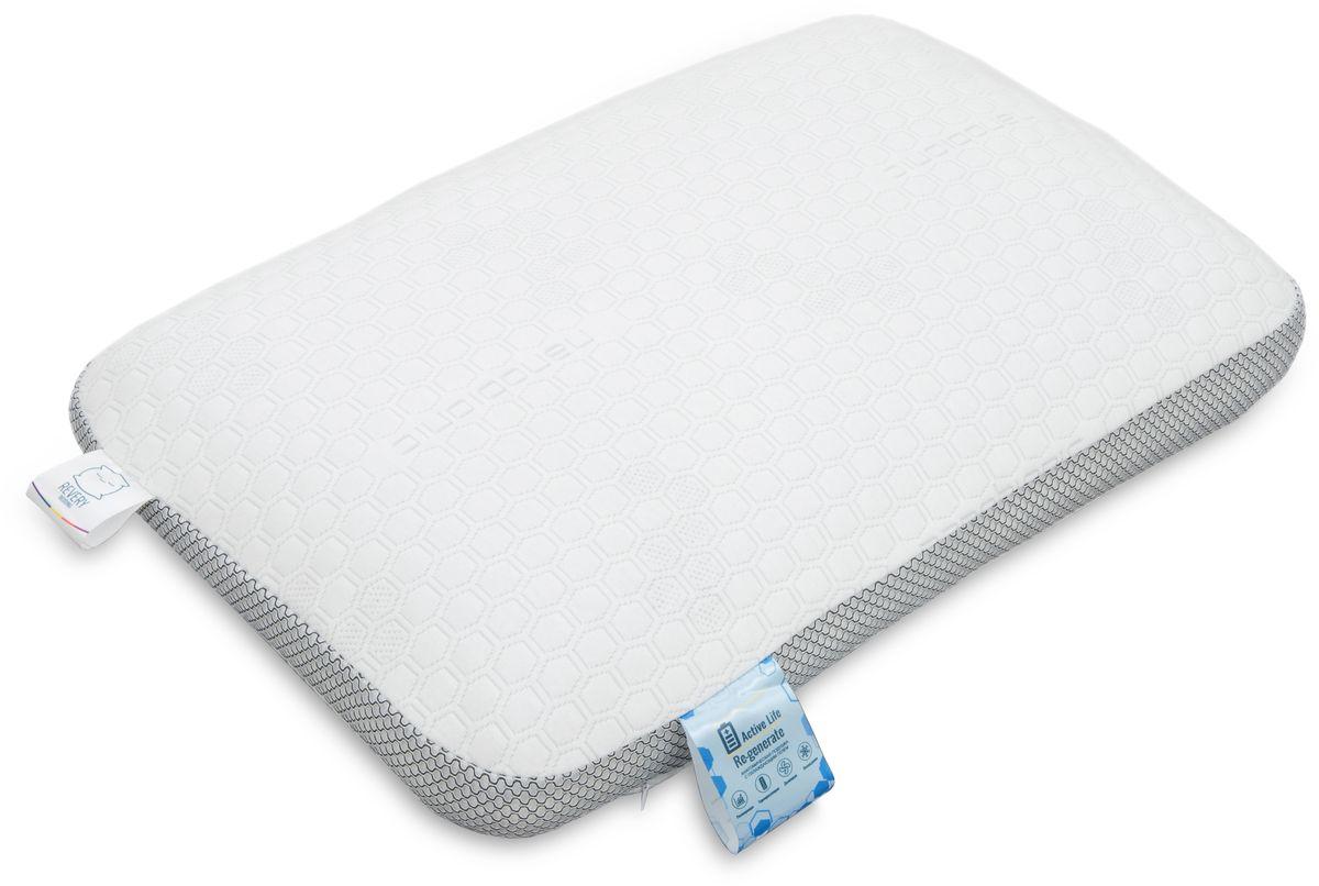 Подушка анатомическая Revery RE Generate, наполнитель: охлаждающий гель, цвет: белый, 60 см х 40 см