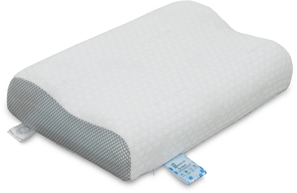 Подушка Revery RE Moval, наполнитель: вязкоэластичная пена, полиэфир, цвет: белый, 60 см х 40 см
