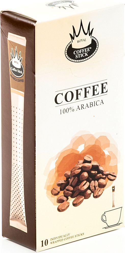 Royal Coffee Stick Arabica кофе растворимый в стиках, 10 шт950Кофе растворимый в стиках Royal Coffee Stick Arabica крепкий и потрясающе ароматный кофе. 100 % Арабика. Универсальный кофе на каждый день, со средним содержанием кофеина. Сбалансированный мягкий вкус. Хорош как в горячем, так и в холодном виде (Ice coffee). Для заваривания возьмите стик с кофе с той стороны, где начинается логотип. Опустите стик в чашку горячей воды и размешайте до желаемой крепости. Кофе упакован в пищевую фольгу, которую можно использовать вместо ложечки для размешивания сахара. Royal Coffee Stick порадует вас потрясающим вкусом натурального кофе и подарит хорошее настроение на весь день.