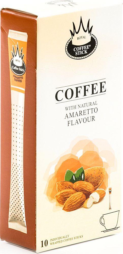 Royal Coffee Stick Amaretto кофе растворимый в стиках, 10 шт960Кофе растворимый в стиках Royal Coffee Stick Amaretto крепкий и потрясающе ароматный кофе со вкусом Амаретто. Универсальный кофе «на каждый день», со средним содержанием кофеина. Сбалансированный мягкий вкус. Хорош как в горячем, так и в холодном виде (Ice coffee). Для заваривания возьмите стик с кофе с той стороны, где начинается логотип. Опустите стик в чашку горячей воды и размешайте до желаемой крепости. Кофе упакован в пищевую фольгу, которую можно использовать вместо ложечки для размешивания сахара. Royal Coffee Stick порадует Вас потрясающим вкусом натурального кофе и подарит хорошее настроение на весь день.