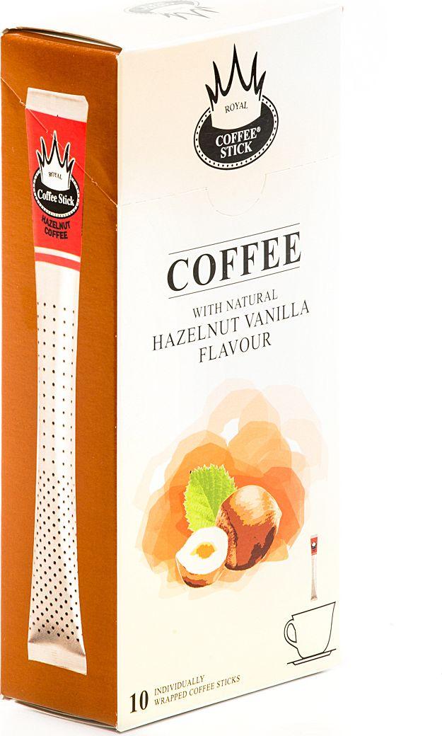 Royal Coffee Stick Hazelnut кофе растворимый в стиках, 10 шт970Кофе растворимый в стиках Royal Coffee Stick Hazelnut крепкий и потрясающе ароматный кофе со вкусом фундука и ванили. Универсальный кофе «на каждый день», со средним содержанием кофеина. Сбалансированный мягкий вкус. Хорош как в горячем, так и в холодном виде (Ice coffee). Для заваривания возьмите стик с кофе с той стороны, где начинается логотип. Опустите стик в чашку горячей воды и размешайте до желаемой крепости. Кофе упакован в пищевую фольгу, которую можно использовать вместо ложечки для размешивания сахара. Royal Coffee Stick порадует Вас потрясающим вкусом натурального кофе и подарит хорошее настроение на весь день.