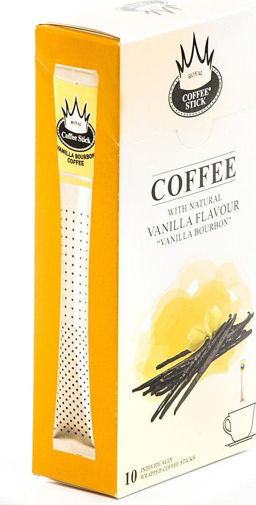 Royal Coffee Stick Vanilla Bourbon кофе растворимый в стиках, 10 шт980Кофе растворимый в стиках Royal Coffee Stick Vanilla Bourbon крепкий и потрясающе ароматный кофе со вкусом ванили Бурбон. Универсальный кофе «на каждый день», со средним содержанием кофеина. Сбалансированный мягкий вкус. Хорош как в горячем, так и в холодном виде (Ice coffee). Для заваривания возьмите стик с кофе с той стороны, где начинается логотип. Опустите стик в чашку горячей воды и размешайте до желаемой крепости. Кофе упакован в пищевую фольгу, которую можно использовать вместо ложечки для размешивания сахара. Royal Coffee Stick порадует Вас потрясающим вкусом натурального кофе и подарит хорошее настроение на весь день.