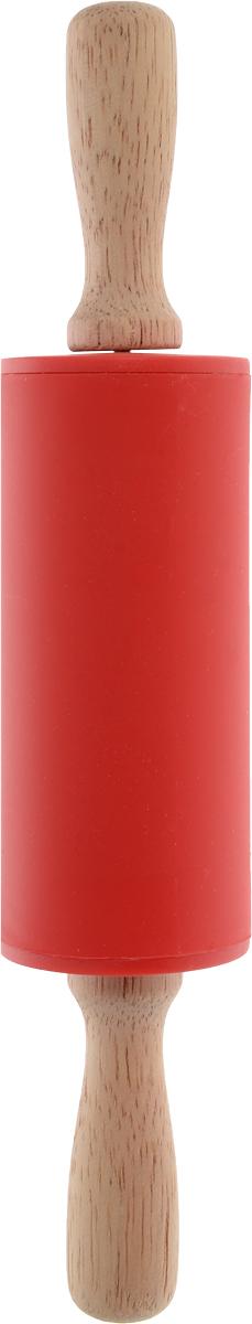 Скалка Доляна Валенсия , цвет: красный, 23 х 4 см851316_красныйСкалка Доляна Валенсия  необходимый на кухне предмет. Изделие из силикона представляет собой усовершенствованную версию привычного инструмента. Яркий дизайн делает предмет украшением арсенала каждого повара. Готовку облегчают удобные ручки.Преимущества:- легко отмывается, не впитывает запахи и не требует особого ухода;- тесто не прилипает к поверхности, поэтому дополнительной присыпки мукой не требуется;- помогает быстрее раскатывать даже замерзший продукт;- не царапает поверхность, можно раскатывать прямо на столешнице.