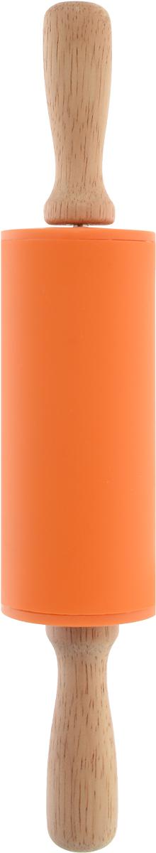 Скалка Доляна Валенсия , цвет: оранжевый, 23 х 4 см851316_оранжевыйСкалка Доляна Валенсия  необходимый на кухне предмет. Изделие из силикона представляет собой усовершенствованную версию привычного инструмента. Яркий дизайн делает предмет украшением арсенала каждого повара. Готовку облегчают удобные ручки.Преимущества:- легко отмывается, не впитывает запахи и не требует особого ухода;- тесто не прилипает к поверхности, поэтому дополнительной присыпки мукой не требуется;- помогает быстрее раскатывать даже замерзший продукт;- не царапает поверхность, можно раскатывать прямо на столешнице.