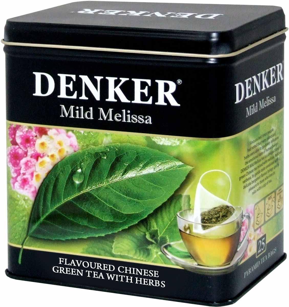 Denker Mild Melissa зеленый чай в пирамидках, 25 шт1080072Еще в глубокой древности было замечено, что многие растения и травы способны положительно влиять на эмоциональное состояние людей. Чай Denker Mild Melissa - это уникальный купаж зеленого китайского чая с добавлением мелиссы, мяты и вербены. Его мягкий вкус в сочетании с легким ароматом бергамота доставит особое удовольствие всем любителям отдохнуть за чашкой чая.