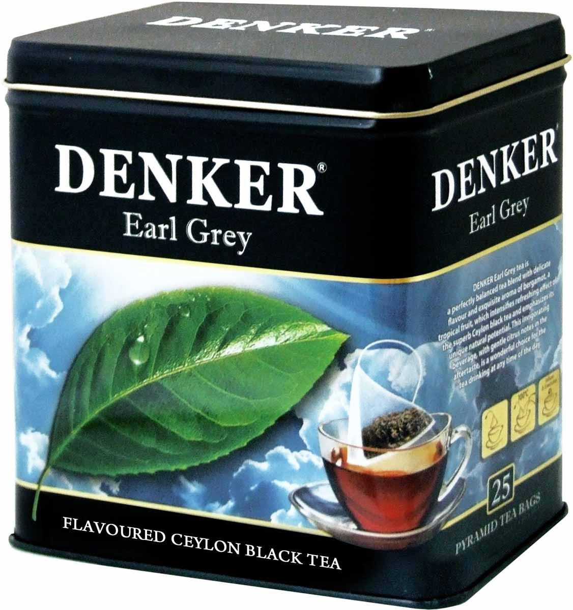 Denker Earl Grey черный чай в пирамидках, 25 шт1080073Чай Denker Earl Grey - это превосходно сбалансированный купаж с изысканным вкусом и тончайшим ароматом бергамота, тропического фрукта, который усиливает освежающее действие великолепного черного цейлонского чая, подчеркивая его неповторимые природные достоинства. Этот бодрящий напиток с легкими цитрусовыми нотками в послевкусии прекрасно подходит для чаепития в любое время.