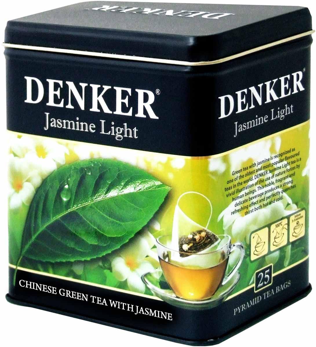 Denker Jasmine Light зеленый чай в пирамидках, 25 шт1080075Зеленый чай с лепестками жасмина считается одним из древнейших и наиболее популярных ароматизированных чаев в мире. Чай Denker Jasmine Light - яркий пример использования человеком естественных сил природы. Обладая мощным освежающим действием, этот ароматный и нежный на вкус благородный напиток прекрасно утоляет жажду как в горячем, так и в холодном виде.