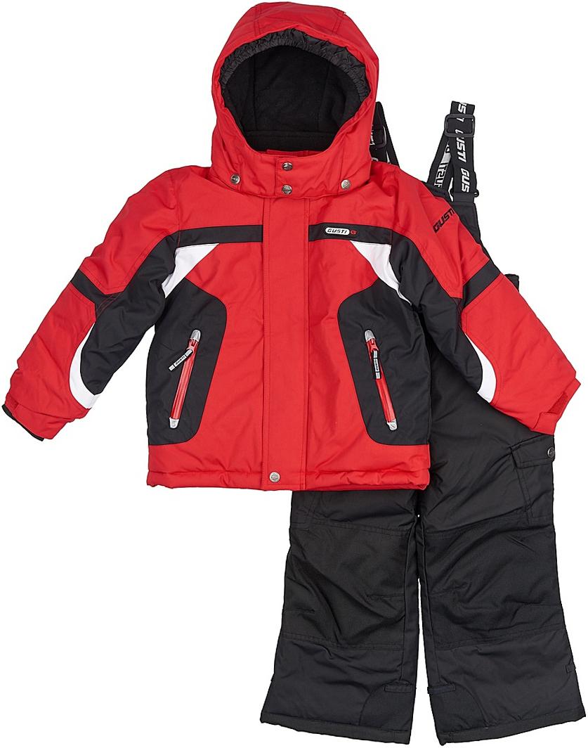 Комплект верхней одежды для мальчика Gusti, цвет: красный, черный. GWB 3306-TOREADOR. Размер 119GWB 3306-TOREADORКомфортный и теплый комплект верхней одежды для девочки, состоящий из куртки и полукомбинезона, выполнен из мембранной ткани.Съемный капюшон на молниях с дополнительной утяжкой, спереди установлены две кнопки. Рукава с манжетами, регулируются липучкой. На куртке два кармана, застегивающиеся на молнию. Застежка-молния с внешней ветрозащитной планкой.Полукомбинезон на регулируемых подтяжках гарантирует посадку по фигуре. Колени, задняя поверхность бедер и низ брючин дополнительно усилены сверхпрочным материалом. Силиконовые отстегивающиеся штрипки на брючинах. Снегозащитная юбка фиксируется эластичным манжетом, предотвращая попадание снега внутрь. Модель оснащена светоотражающими элементами.