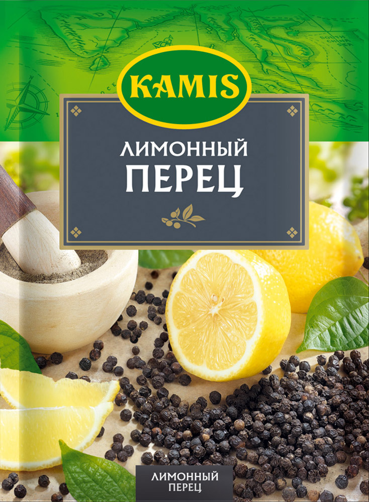 Kamis приправа лимонный перец, 20 г901430063Всегда чувствуется, когда еда приготовлена с любовью! Вдохновляйтесь продуктами Kamis, готовьте блюда, полные любви, и делитесь настоящими чувствами с самыми близкими.Приправа Лимонный перец — классическое кулинарное трио, которое добавляет аромат и вкус многим блюдам. Эксперты Kamis дополнили это сочетание чесноком, луком и куркумой для более богатого вкуса вашего блюда. Аромат: перечный, с цитрусовым оттенком. Вкус: умеренно острый, цитрусовый.