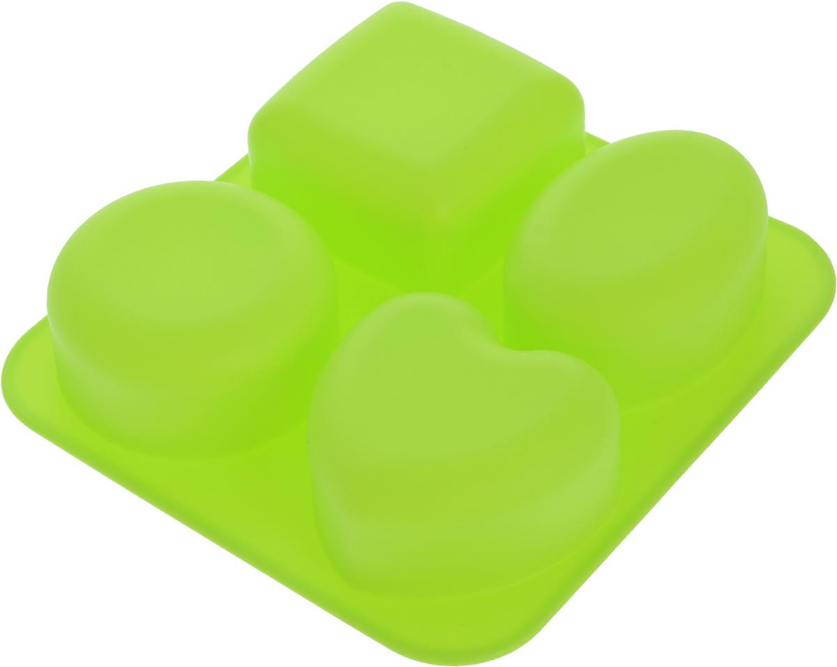 Форма для выпечки Доляна Нежность, силиконовая, цвет: салатовый, 17,5 х 16,5 х 3,5 см, 4 ячейки123175_салатовыйФорма Доляна Нежность, выполненная из силикона, будет отличным выбором для всех любителей домашней выпечки. Форма имеет 4 ячейки в виде квадрата, овала, круга и сердца. Силиконовые формы для выпечки имеют множество преимуществ по сравнению с традиционными металлическими формами и противнями. Нет необходимости смазывать форму маслом. Форма быстро нагревается, равномерно пропекает, не допускает подгорания выпечки с краев или снизу. Вынимать продукты из формы очень легко. Слегка выверните края формы или оттяните в сторону, и ваша выпечка легко выскользнет из формы. Материал устойчив к фруктовым кислотам, не ржавеет, на нем не образуются пятна. Форма может быть использована в духовках и микроволновых печах (выдерживает температуру от -40°С до +230°С), также ее можно помещать в морозильную камеру и холодильник. Можно мыть в посудомоечной машине.Размер формы: 17,5 х 16,5 х 3,5 см.