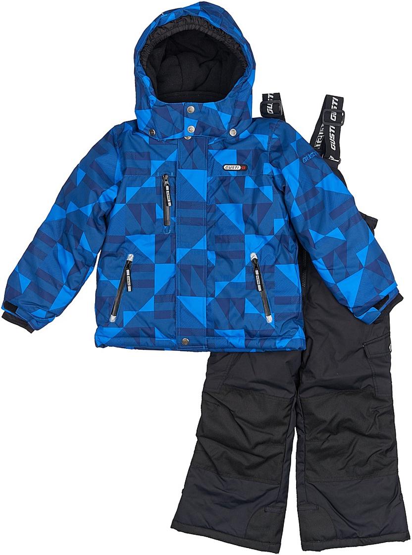 Комплект верхней одежды для мальчика Gusti, цвет: синий, черный. GWB 3311-ELECTRIC BLUE. Размер 123GWB 3311-ELECTRIC BLUEКомфортный и теплый комплект верхней одежды, состоящий из куртки и полукомбинезона, выполнен из мембранной ткани.Съемный капюшон на кнопках с дополнительной утяжкой, спереди установлены две кнопки. Рукава с манжетами, регулируются липучкой. На куртке два кармана, застегивающиеся на молнию и два накладных кармана на кнопках. Застежка-молния с внешней ветрозащитной планкой.Полукомбинезон на регулируемых подтяжках гарантирует посадку по фигуре. Силиконовые отстегивающиеся штрипки на брючинах. Снегозащитная юбка фиксируется эластичным манжетом, предотвращая попадание снега внутрь. Модель оснащена светоотражающими элементами.