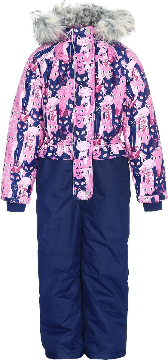 Комбинезон утепленный для девочки Reike Кошечки, цвет: розовый, темно-синий. 397007_PRC pink/navy. Размер 110397007_PRC pink/navyКомбинезон для девочки Reike Кошечки изготовлен из ветрозащитного, водоотталкивающего, дышащего мембранного материала, оформленного принтом с изображением кошечек. Подкладка выполнена из принтованного полиэстера, на спинке и воротнике вставки из микрофлиса. Модель дополнена съемным регулирующимся капюшоном с отстегивающейся меховой опушкой, двумя карманами на молнии, а также многочисленными светоотражающими элементами. Рукава оформлены эластичными трикотажными манжетами. Ветрозащитная планка на кнопках и липучках вдоль всей молнии не допускает проникновения холодного воздуха. Низ и колени брючин усилены от истирания и оснащены снегозащитными вставками, а также съемными штрипками.Базовый уровень.Коэффициент воздухопроницаемости комбинезона: 2000гр/м2/24ч.Водоотталкивающее покрытие: 2000 мм.