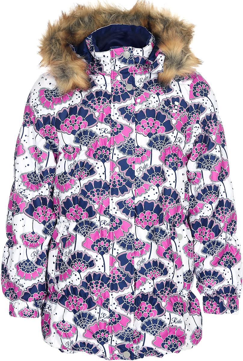 Куртка для девочки Reike Японские цветы, цвет: белый. 396691_JFL white. Размер 158396691_JFL whiteКуртка для девочки Reike Японские цветы изготовлена из ветрозащитного, водоотталкивающего, дышащего материала с изысканным цветочным принтом. Подкладка выполнена из принтованного полиэстера с флисовым подкладом. Куртка дополнена съемным регулирующимся капюшоном с отстегивающейся меховой опушкой, двумя карманами на молнии, светоотражающим элементом на спине в форме цветка, повторяющего узор принта. На груди серебристая вышивка логотипа Reike украшена декоративными камушками. На передней и задней половинке куртки, а также на рукавах проложены декоративные отделочные строчки с ниткой-резинкой. Ветрозащитная планка на кнопках и липучках вдоль молнии и манжеты на резинке создают дополнительную защиту от ветра. Низ куртки присборен резинкой. Базовый уровень. Коэффициент воздухопроницаемости куртки: 2000гр/м2/24 ч. Водоотталкивающее покрытие: 2000 мм.