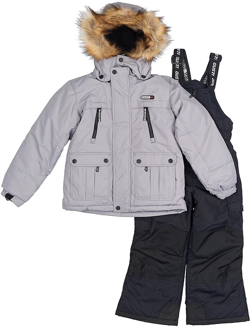 Комплект верхней одежды для мальчика Gusti, цвет: серый, черный. GWB 3314-SHARKSKIN. Размер 112GWB 3314-SHARKSKINКомфортный и теплый комплект верхней одежды, состоящий из куртки и полукомбинезона, выполнен из мембранной ткани.Съемный капюшон на кнопках с дополнительной утяжкой, спереди установлены две кнопки. Рукава с манжетами, регулируются липучкой. На куртке два кармана, застегивающиеся на молнию и два накладных кармана на кнопках. Застежка-молния с внешней ветрозащитной планкой.Полукомбинезон на регулируемых подтяжках гарантирует посадку по фигуре. Силиконовые отстегивающиеся штрипки на брючинах. Снегозащитная юбка фиксируется эластичным манжетом, предотвращая попадание снега внутрь. Модель оснащена светоотражающими элементами.