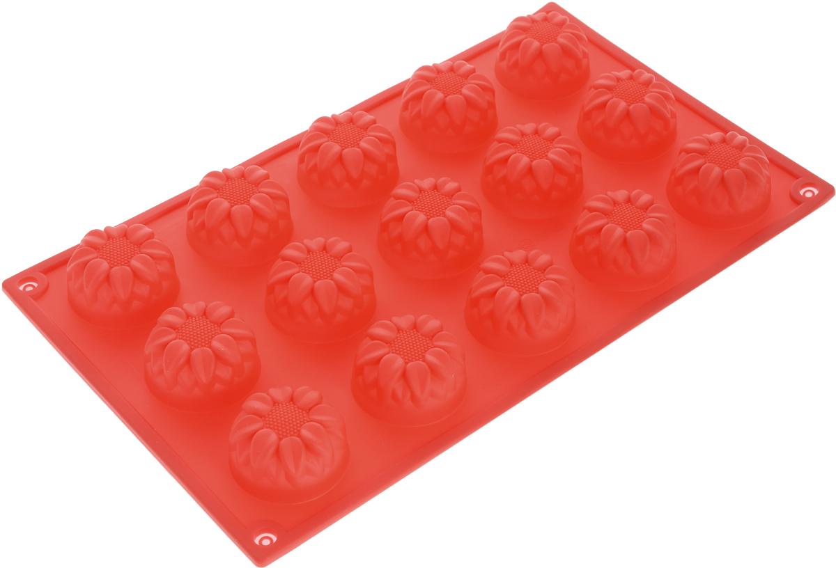 Форма для выпечки Доляна Подсолнухи, силиконовая, цвет: красный, 17 х 29,5 х 2 см, 15 ячеек1000379_красныйФорма Доляна Подсолнухи, изготовленная из силикона, выполнена в виде оригинальных фигурок.Силиконовые формы для выпечки имеют множество преимуществ по сравнению с традиционными металлическими формами и противнями. Нет необходимости смазывать форму маслом. Форма быстро нагревается, равномерно пропекает, не допускает подгорания выпечки с краев или снизу. Вынимать продукты из формы очень легко. Слегка выверните края формы или оттяните в сторону, и ваша выпечка легко выскользнет из формы. Материал устойчив к фруктовым кислотам, не ржавеет, на нем не образуются пятна. Форма может быть использована в духовках и микроволновых печах (выдерживает температуру от -40°С до +230°С), также ее можно помещать в морозильную камеру и холодильник. Можно мыть в посудомоечной машине.Размер ячеек: 4 х 4 х 2,5 см.