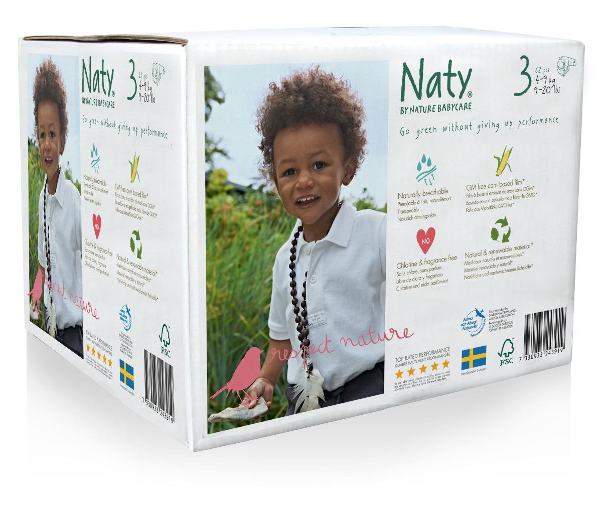 Naty Подгузники 4-9 кг (размер 3) эконом-бокс 62 шт тод данкан продажи на основе высокого доверия
