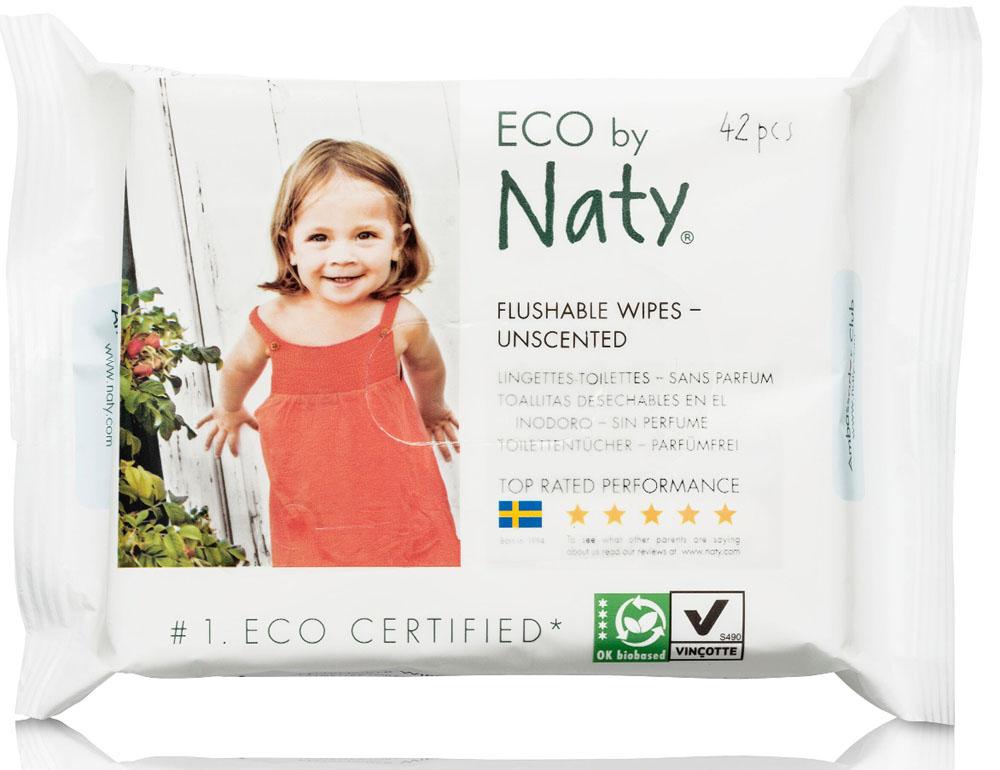 Naty Влажные салфетки детские смываемые 42 шт7330933245074Гигиенические процедуры - необходимы маленькому ребенку постоянно. Салфетки влажные Naty - нежная забота и надежное качество! Cалфетки на 100% изготовлены из полностью биоразлагаемой и не содержащей хлора целлюлозы, произведенной из древесины скандинавских лесов и получившей сертификат FSC. Кроме того, используются натуральные компоненты, полученные напрямую из растений, а не синтетически. Салфетку вместе со стулом можно выбрасывать в туалет, поэтому время на уборку после смены подгузника резко сокращается. Нет повода для беспокойства! Салфетки растворяются в воде так же легко, как и туалетная бумага. Во избежание засоров смывайте не более чем по 1-2 салфетки. Идеальны для приучения к туалету. Салфетки удобно использовать, когда вы приучаете малыша к туалету и часто вытираете ему попку. Их можно сразу смыть в туалет.