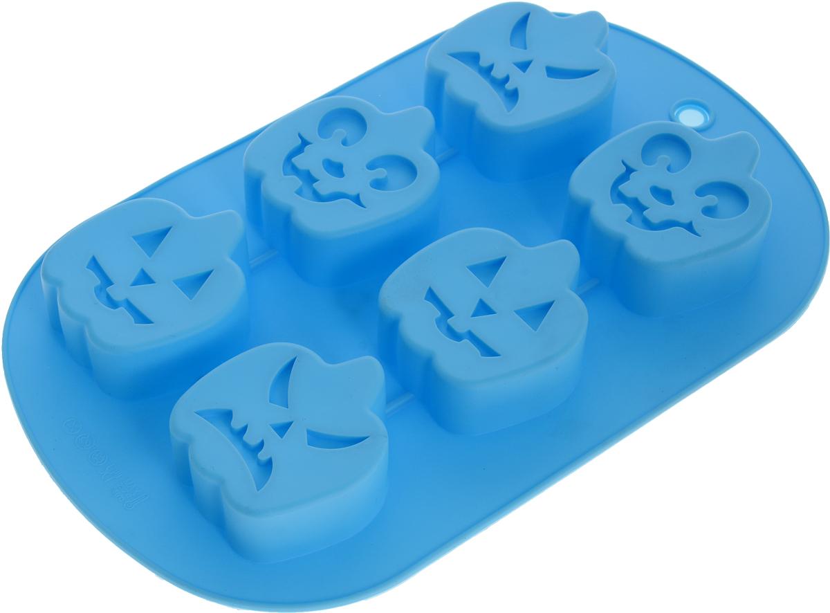 Форма для выпечки Доляна Тыква, силиконовая, цвет: голубой, 27 х 17 х 3 см, 6 ячеек1403935_голубойФорма Доляна Тыква, изготовленная из силикона, выполнена в виде фигурок тыквы с забавными мордашками. Такой выпечкой можно приятно удивить друзей на Хэллоуин.Силиконовые формы для выпечки имеют множество преимуществ по сравнению с традиционными металлическими формами и противнями. Нет необходимости смазывать форму маслом. Форма быстро нагревается, равномерно пропекает, не допускает подгорания выпечки с краев или снизу.Вынимать продукты из формы очень легко. Слегка выверните края формы или оттяните в сторону, и ваша выпечка легко выскользнет из формы. Материал устойчив к фруктовым кислотам, не ржавеет, на нем не образуются пятна. Форма может быть использована в духовках и микроволновых печах (выдерживает температуру от -40°С до +230°С), также ее можно помещать в морозильную камеру и холодильник. Можно мыть в посудомоечной машине.Размер формы: 27 х 17 х 3 см.Средний размер ячеек: 5,5 х 6 х 2,5 см.