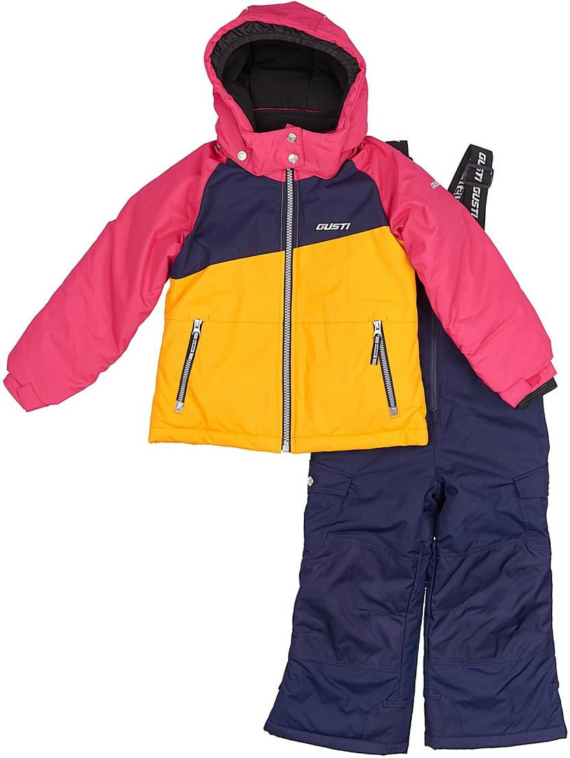 Комплект верхней одежды для девочки Gusti: куртка, полукомбинезон, цвет: розовый, желтый, синий. GWG 3290-PINK. Размер 127