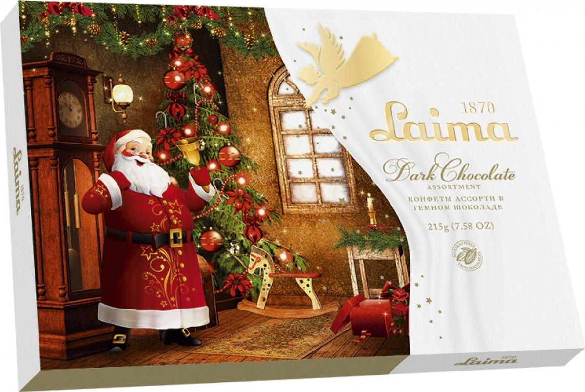 Laima ассорти конфет в темном шоколаде, 215 г laima ассорти с ягодными начинками 210 г