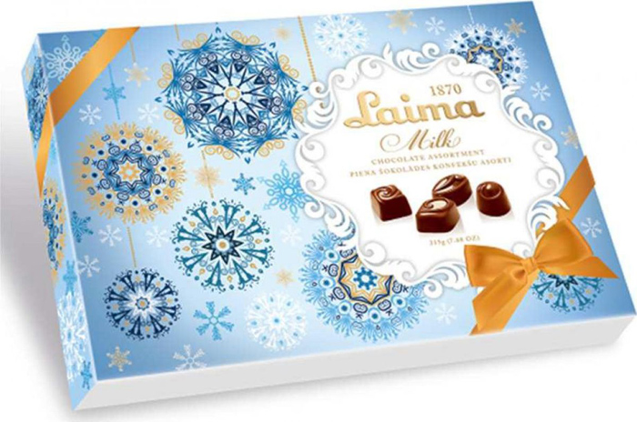 Laima ассорти конфет в молочном шоколаде, 215 гP140005315Ассорти конфет в молочном шоколаде 4 разные формы 3 начинки-молочный крем, крем-какао, крем-ирис-тоффи)