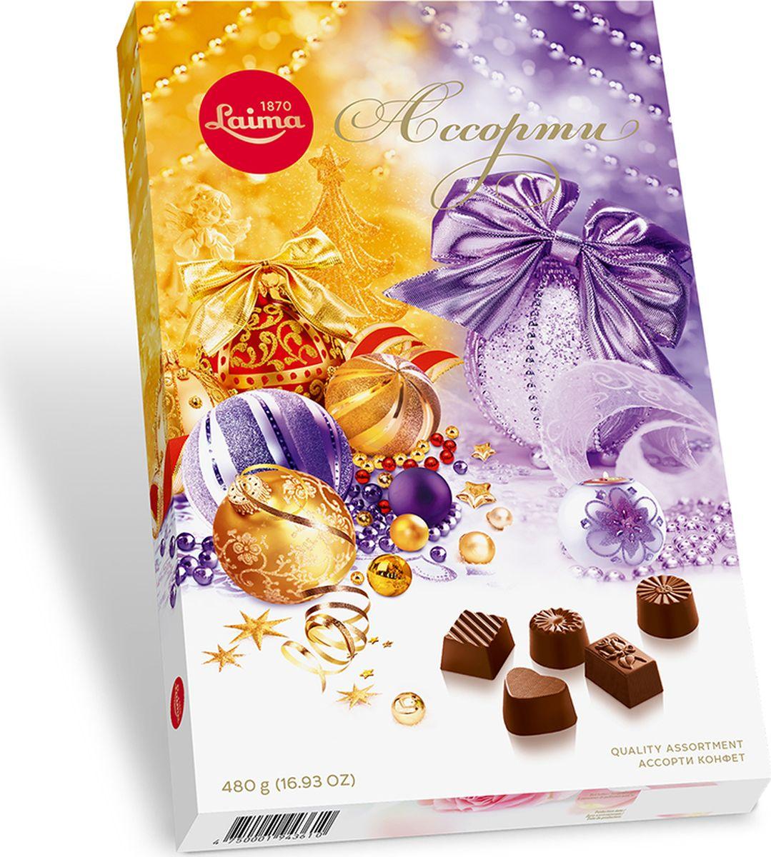 Laima Шары ассорти конфет, 480 гP140208244Конфеты 5 разных форм и с 3-мя начинками: молочная помадка, фруктовое желе, крем-какао. В коробке европейского дизайна.