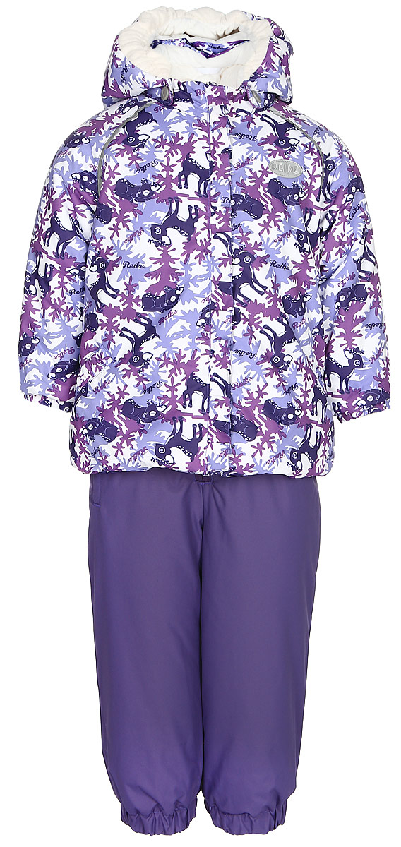 Комплект для девочки Reike Олененок: куртка, полукомбинезон, цвет: фиолетовый. 3932012_DR purple. Размер 983932012_DR purpleКомплект Reike Олененок, состоящий из куртки, декорированной принтом с милыми оленятами, и однотонного полукомбинезона, обеспечивает комфорт и качественную защиту ребенка в зимние месяцы. Комплект выполнен из ветрозащитной и водонепроницаемой дышащей ткани с мембраной на хлопковом подкладе с комфортными велюровыми вставками в верхней части полукомбинезона, а также на воротнике, капюшоне и эластичных манжетах куртки. Куртка дополнена съемным регулирующимся капюшоном с забавными ушками и трикотажной резинкой, двумя карманами с клапанами и множеством безопасных светоотражающих деталей. Резинка внизу куртки и ветрозащитная планка вдоль молнии в виде рюши не допускают проникновения холодного воздуха. Эластичная талия полукомбинезона и регулируемые подтяжки гарантируют удобную посадку по фигуре, а длинная молния впереди облегчает процесс одевания. Полукомбинезон оснащен светоотражателем в виде логотипа Reike, боковым карманом на молнии и съемными штрипками.Базовый уровень.Коэффициент воздухопроницаемости комбинезона: 2000гр/м2/24ч.Водоотталкивающее покрытие: 2000 мм.