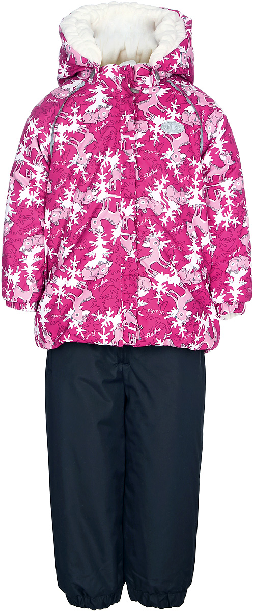 Комплект для девочки Reike Олененок: куртка, полукомбинезон, цвет: красный. 393207_DR berry. Размер 80
