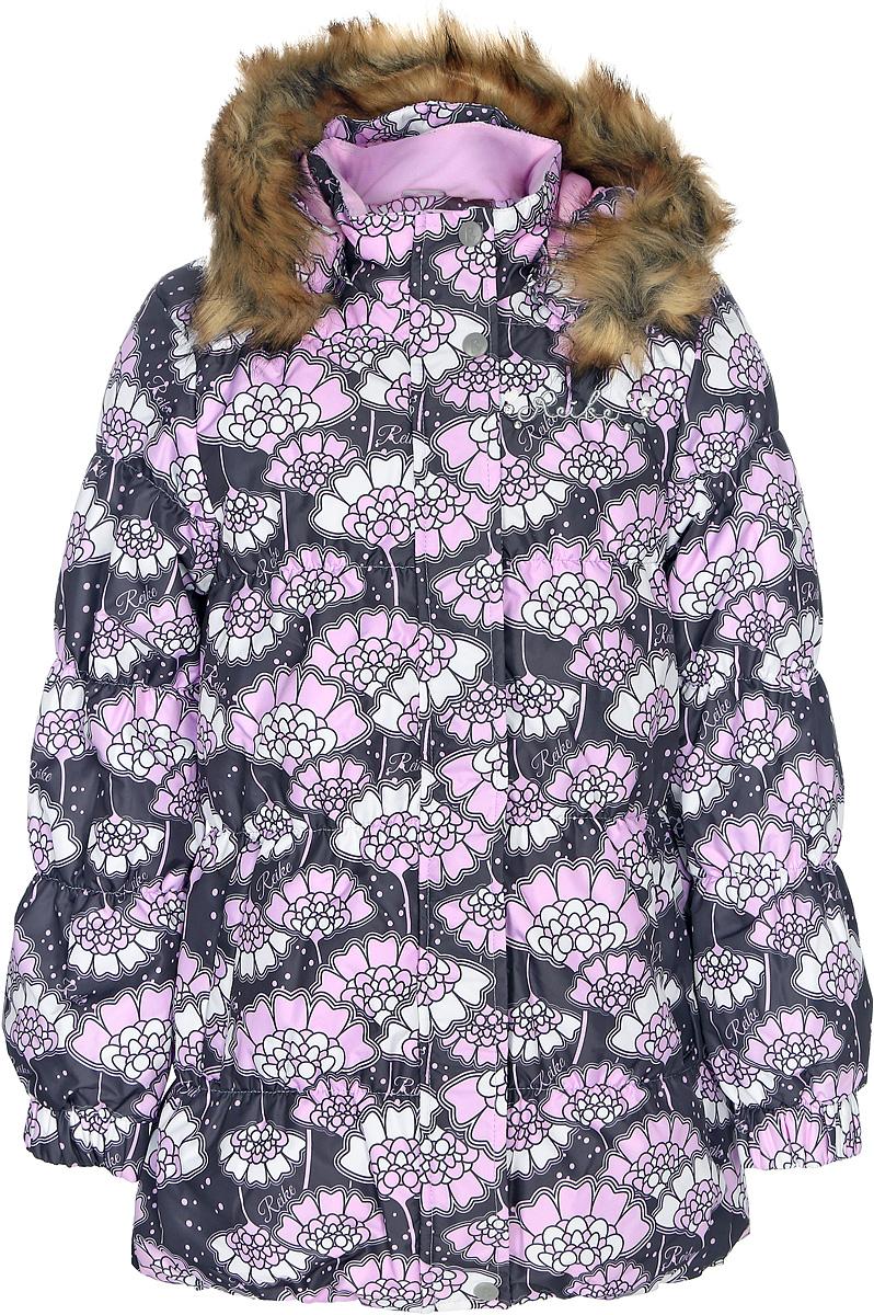 Куртка для девочки Reike Японские цветы, цвет: серый. 3966910_JFL grey. Размер 1643966910_JFL greyКуртка для девочки Reike Японские цветы изготовлена из ветрозащитного, водоотталкивающего, дышащего материала с изысканным цветочным принтом. Подкладка выполнена из принтованного полиэстера с флисовым подкладом. Куртка дополнена съемным регулирующимся капюшоном с отстегивающейся меховой опушкой, двумя карманами на молнии, светоотражающим элементом на спине в форме цветка, повторяющего узор принта. На груди серебристая вышивка логотипа Reike украшена декоративными камушками. На передней и задней половинке куртки, а также на рукавах проложены декоративные отделочные строчки с ниткой-резинкой. Ветрозащитная планка на кнопках и липучках вдоль молнии и манжеты на резинке создают дополнительную защиту от ветра. Низ куртки присборен резинкой. Базовый уровень. Коэффициент воздухопроницаемости куртки: 2000гр/м2/24 ч. Водоотталкивающее покрытие: 2000 мм.