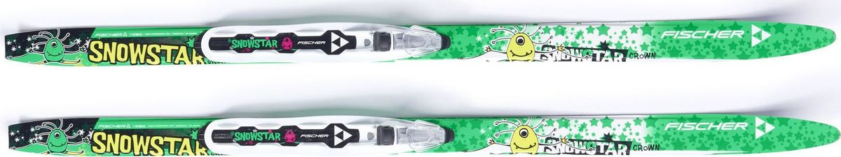 """Беговые лыжи Fischer """"Snowstar"""" - стильная модель для самых маленьких лыжников. Устойчивая модель с насечками – осваивайте катание на лыжах с удовольствием. Лыжи продаются с установленными креплениями NNN.  Профиль: 54-48-52.   Air Channel.  Оптимизированная система воздушных каналов в структуре деревянного сердечника отличается высочайшей прочностью и оптимальным распределением веса.   Crown Tec.  Система насечек Crown Tech обеспечивает надежное держание при движении в подъем и отличное скольжение в любых условиях.   Ultra Tuning.  Универсальная обработка обеспечивает прекрасное скольжение.    Как выбрать лыжи ребёнку. Статья OZON Гид"""