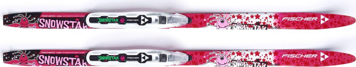 Беговые лыжи Fischer Snowstar Pink Nis Kids, с креплением, 90 см. N64616 лыжи беговые tisa top universal с креплением цвет желтый белый черный рост 182 см