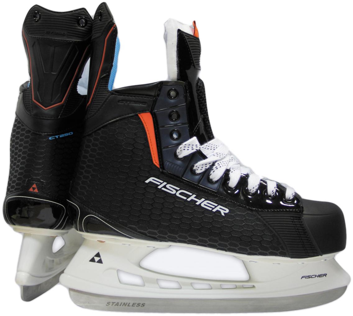 Коньки хоккейные мужские Fischer CT250 SR, цвет: черный. H04017. Размер 46 коньки хоккейные мужские bauer vapor x400 цвет черный 1050594 размер 47
