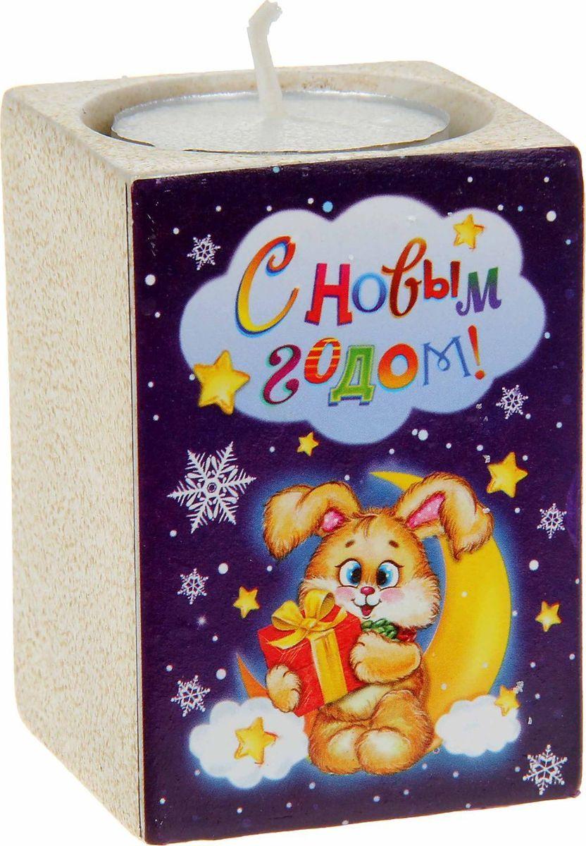 Подсвечник Sima-land С Новым годом, со свечой, 5,5 х 7,5 см