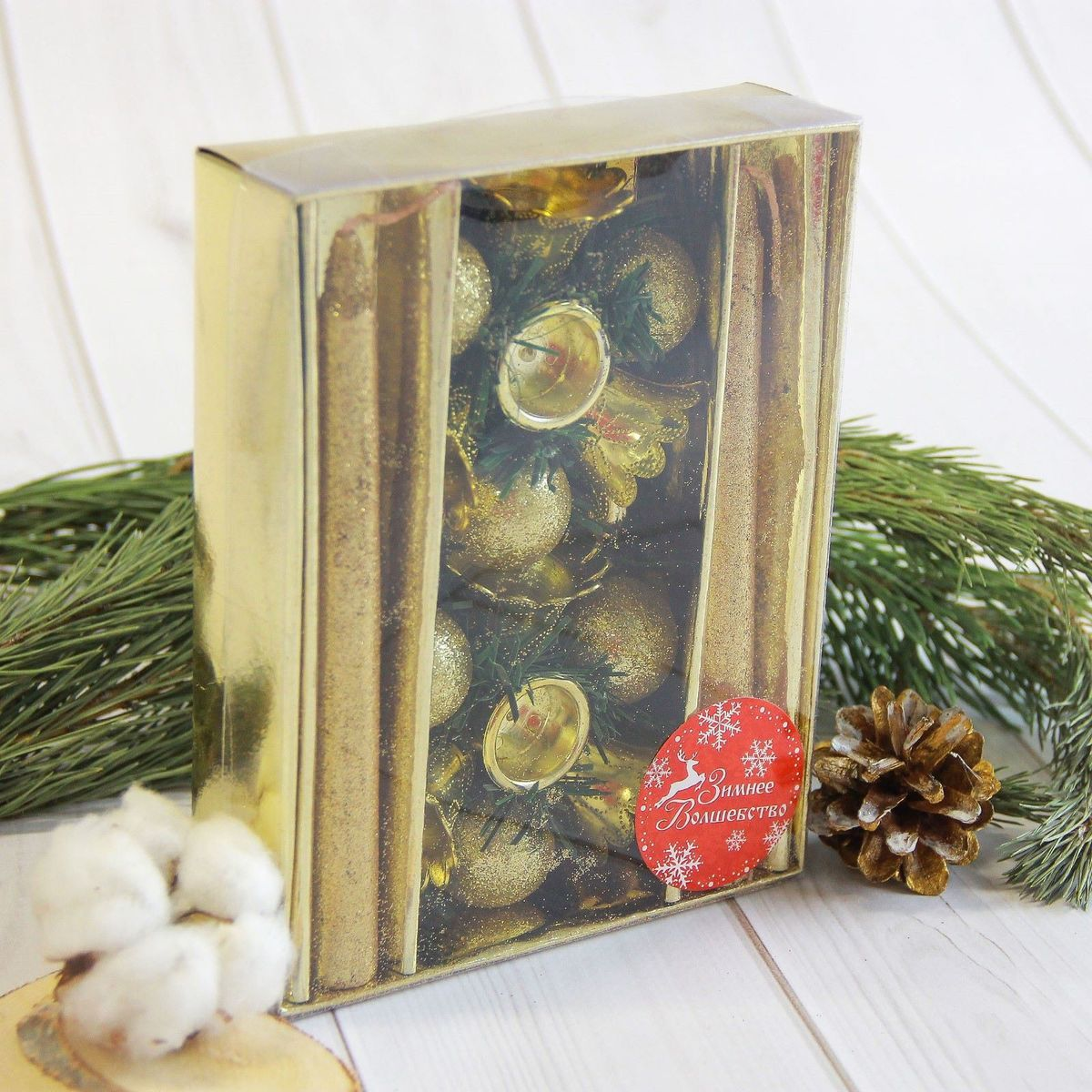 Набор свечей Sima-land Золотые колокольчики, с подсвечниками, 4 предмета продажа подсвечников
