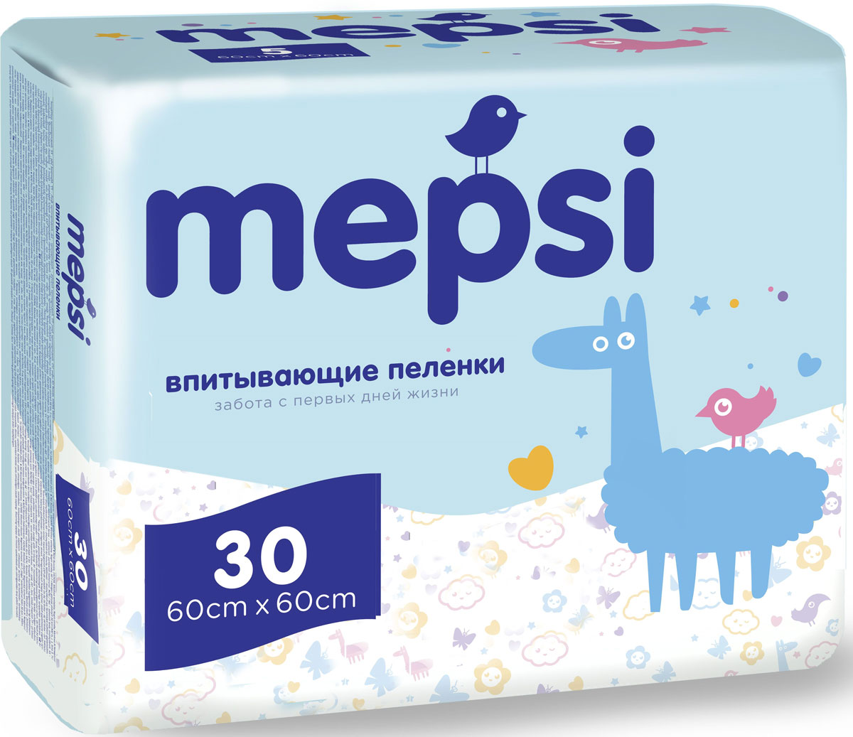 Mepsi Пеленки одноразовые впитывающие 60 х 60 см 30 шт mepsi пеленки одноразовые впитывающие 60 х 60 см 5 шт