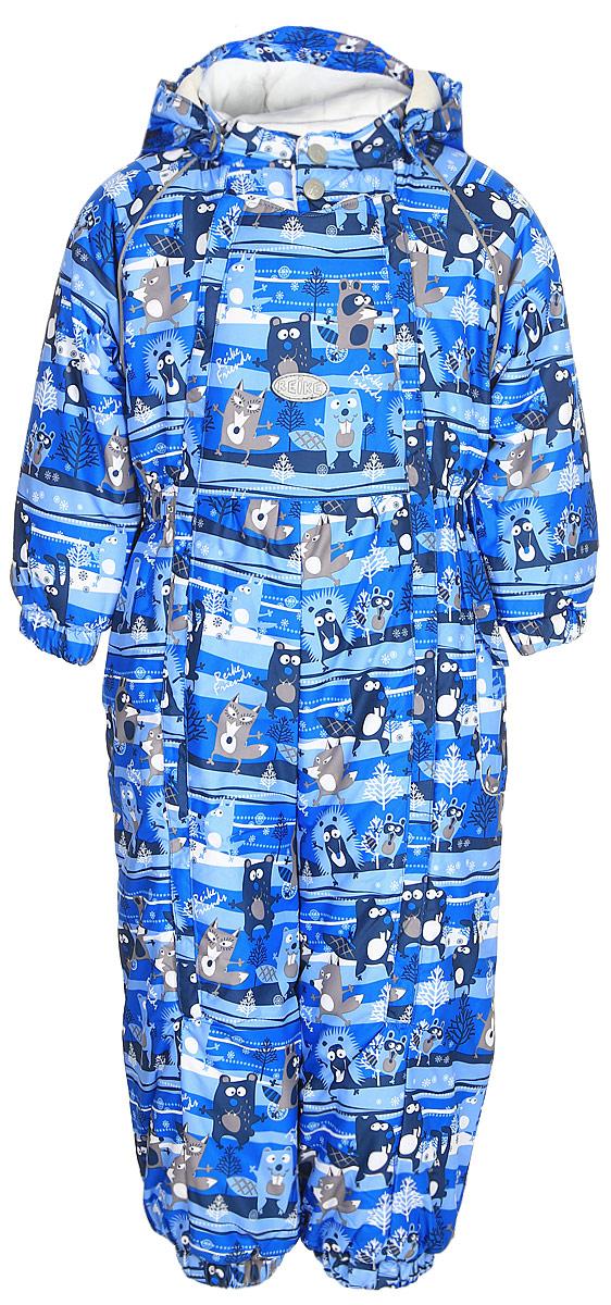 Комбинезон утепленный для мальчика Reike Веселые друзья, цвет: синий. 395205_FFF blue. Размер 74395205_FFF blueКомбинезон Reike Веселые друзья выполнен из ветрозащитной, водоотталкивающей и дышащей мембранной ткани, декорированной ярким принтом. Нежная велюровая подкладка из натурального хлопка обеспечивает дополнительный комфорт и тепло. Эластичные манжеты на рукавах и штанинах и ветрозащитные планки вдоль двух молний не допускают проникновения холодного воздуха. Комбинезон дополнен съемным регулирующимся капюшоном с козырьком, боковым кармашком с клапаном на липучке, светоотражающими деталями на груди и спинке и съемными штрипками.Базовый уровень.Коэффициент воздухопроницаемости комбинезона: 2000гр/м2/24 ч.Водоотталкивающее покрытие: 2000 мм.