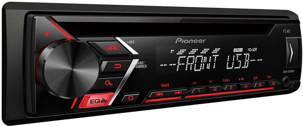 Pioneer DEH-S100UB автомагнитола4980331Din автомагнитола CD / USB / AUX, 4X50 Вт, 1 RCA, красная подсветка кнопок, белый цвет экрана, поддержка формата FLAC, подключение Android-смартфонов, управление при помощи приложения Pioneer ARC, 5-ти полосный эквалайзер