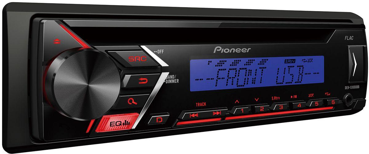 Pioneer DEH-S100UBB автомагнитола1000659Pioneer DEH-S100UBB - это высококачественный чистый звук мощностью 4 х 50 Вт. Стильная красная подсветка позволит этой модели превосходно вписаться в интерьер салона вашего автомобиля. Для усиления устройства можно подключить другие стереокомпоненты - фронтальные, тыловые АС или сабвуфер через выход предусилителя RCA. Воспроизводите CD или CD-R/RW с поддержкой MP3, WMA, WAV и FLAC файлов, или используйте USB, чтобы никогда не расставаться с любимой музыкой. Пятиполосный эквалайзер подарит вам полный контроль над звучанием любимых мелодий.Автомагнитола поддерживает подключение Android-смартфонов и управление с помощью приложения Pioneer ARC.