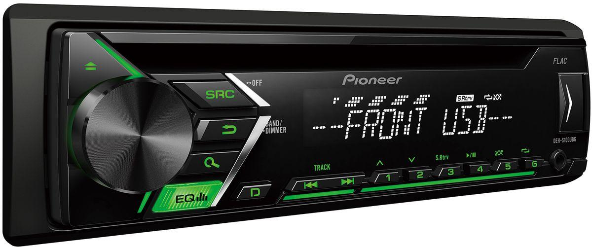 Pioneer DEH-S100UBG автомагнитола4980351Din автомагнитола CD / USB / AUX, 4X50 Вт, 1 RCA, зелёная подсветка кнопок, белый цвет экрана, поддержка формата FLAC, подключение Android-смартфонов, управление при помощи приложения Pioneer ARC, 5-ти полосный эквалайзер