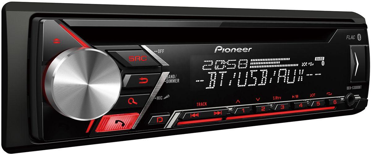 Pioneer DEH-S3000BT автомагнитола10006611Din автомагнитола CD / USB / AUX, 4X50 Вт, 2 RCA, красная подсветка кнопок, белый цвет экрана, MIXTRAX EZ, Bluetooth (2 смартфона одновременно), подключение смартфонов Android, поддержка формата FLAC, караоке, управление при помощи приложения Pioneer ARC, 13-ти полосный эквалайзер, временные задержки