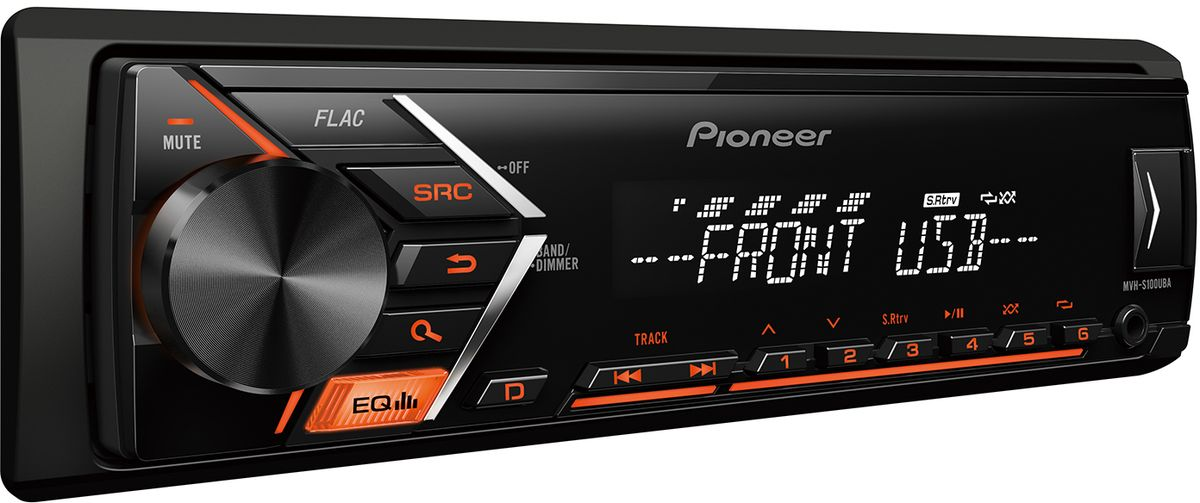 Pioneer MVH-S100UBA автомагнитола автомагнитола pioneer mvh 280fd usb mp3 cd fm 1din 4x100вт черный