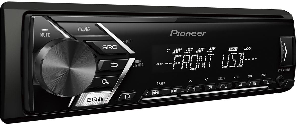 Pioneer MVH-S100UBW автомагнитола4984321Din автомагнитола USB / AUX, 4X50 Вт, 1 RCA, белая подсветка кнопок, белый цвет экрана, поддержка формата FLAC, подключение Android-смартфонов, управление при помощи приложения Pioneer ARC, 5-ти полосный эквалайзер