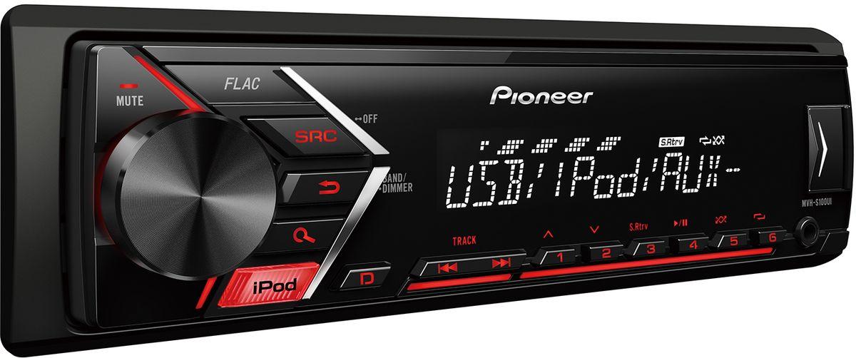 Pioneer MVH-S100UI автомагнитола4984331Din автомагнитола USB / AUX, 4X50 Вт, 2 RCA, красная подсветка кнопок, белый цвет экрана, поддержка формата FLAC, подключение смартфонов Android / iPhone, управление при помощи приложения Pioneer ARC, 5-ти полосный эквалайзер