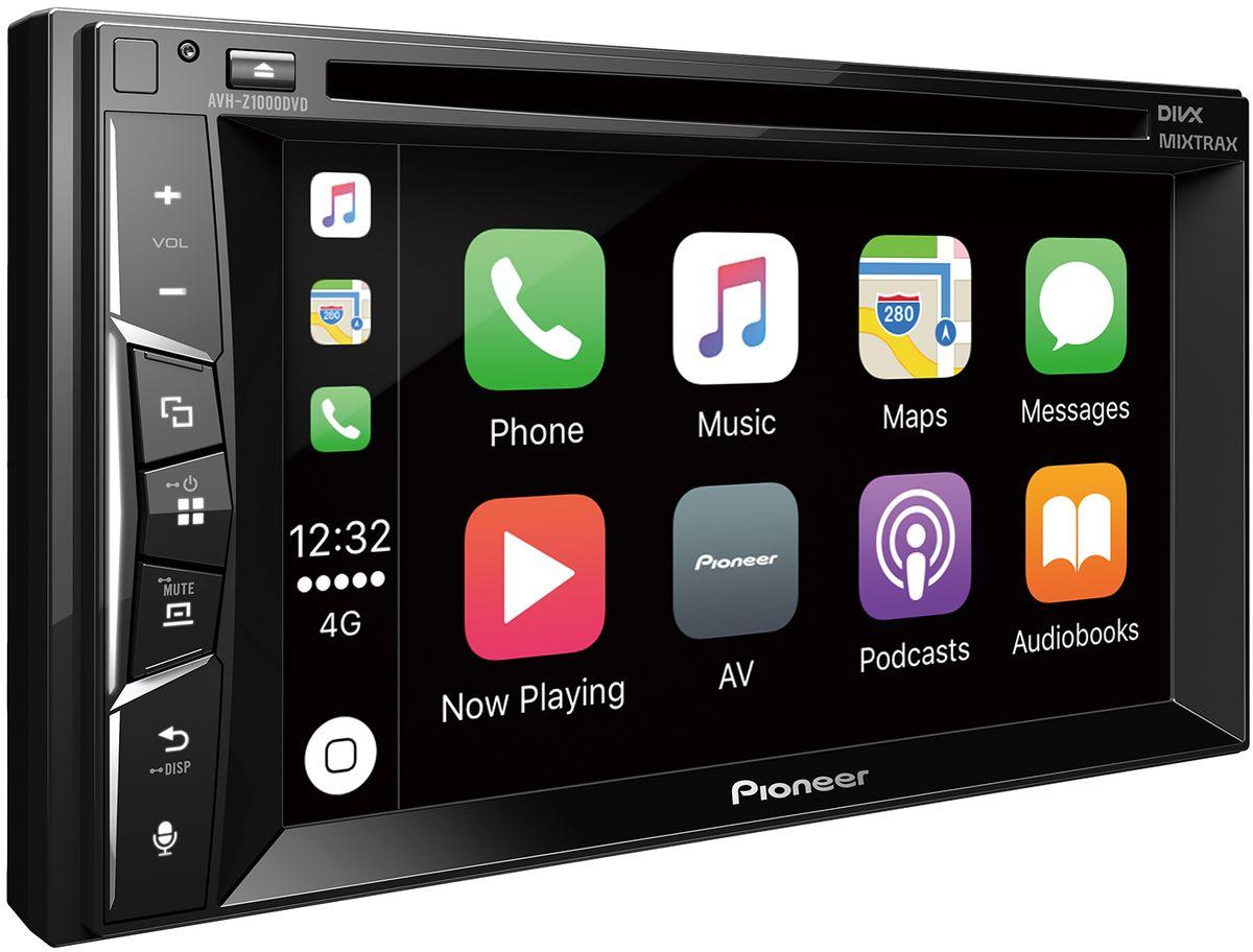 Pioneer AVH-Z1000DVD автомагнитола4984352Din мультимедийная DVD / USB станция с 6,2 ЖК экраном WVGA, 4X50 Вт, RGB подсветка кнопок, MIXTRAX EZ, режим AppRadio, CarPlay, Встроенный DSP процессор, подключение камеры заднего вида, улучшенное воспроизведение видео Full HD, 24 битный цвет, Hi-Rez FLAC 192 кГц/24 бит, 1,5 А зарядка Андройд-устройств
