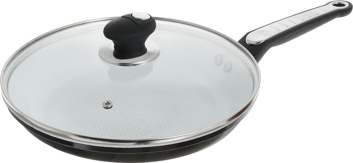 Сковорода Bohmann с крышкой, с керамическим покрытием, цвет: черный. Диаметр 26 см сковороды bohmann сковорода с керамическим покрытием и силиконовой ручкой