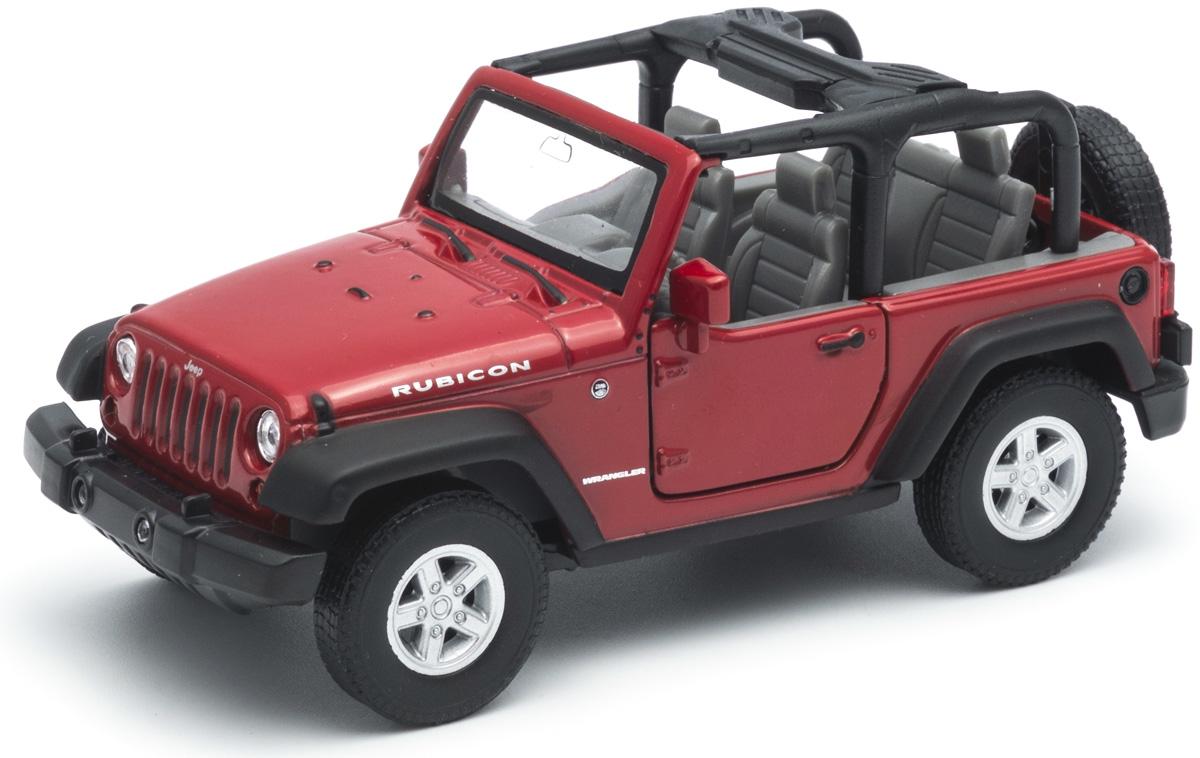 Welly Модель автомобиля Jeep Wrangler Rubicon цвет красный funlight 1 pair 7 inch black round 36w led headlights with high low beam for jeep wrangler jk tj hummer h1