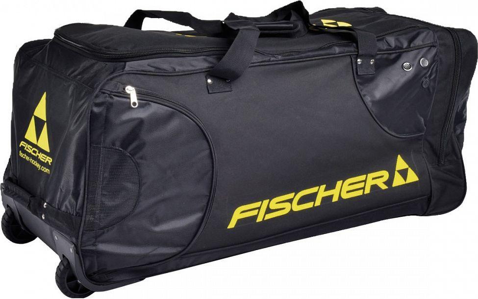 Сумка игрока Fischer, на колесах. Размер JRH01616Размер JR 36 x 16 x 15Особенности: - Усиленные колеса и телескопическая ручка- Жаккард/Нейлон 600D- Внутренние карманы для коньков- Вентиляционные зоны